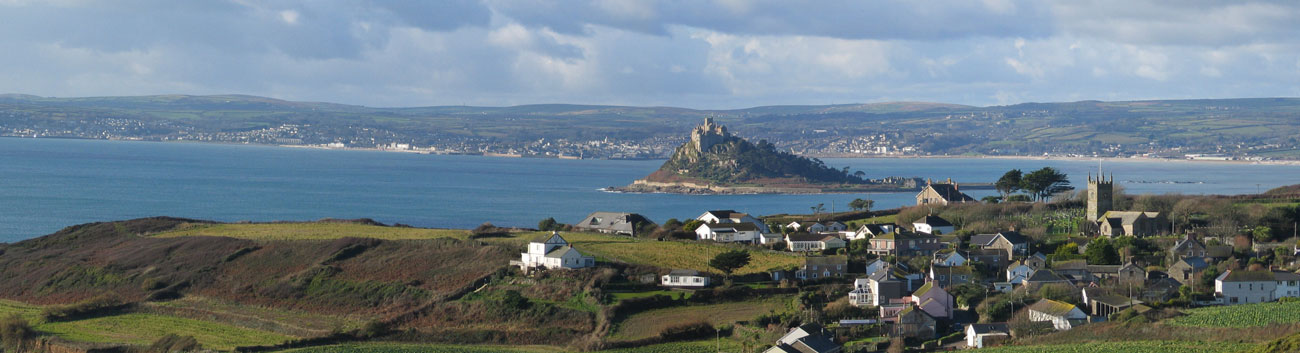 Ednovean Farm is just above the village of Perranuthnoe within sight of Marazion, St Michael's Mount, Penzance Newlyn and Mousehole