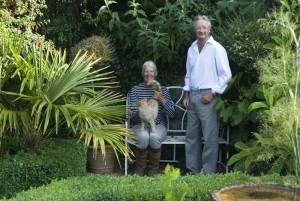 More about Ednovean Farm - hosts Christine and Charles Taylor in the garden