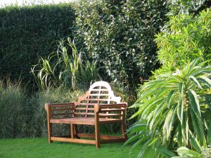 Lush garden with Lutyens bench