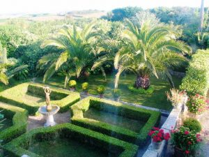 Make a reservation to see the view from above of formal parterre and Date palms at Ednovean Farm