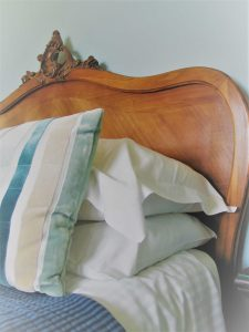 walnut french bedhead fresh white pillows luxury B&B