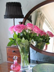 Pink roses on luxury B&B dressing table