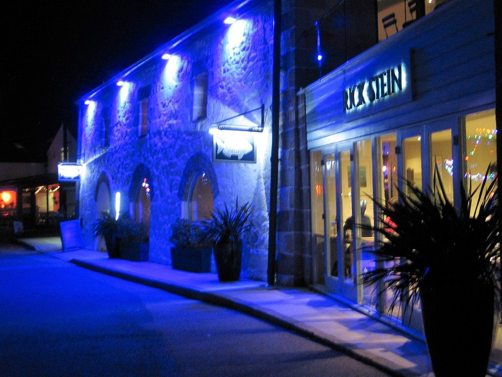 blue light on harbour fish restaurant