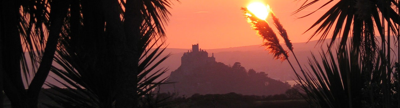 Sunset behind St Michael's Mount from Ednovean Farm's garden