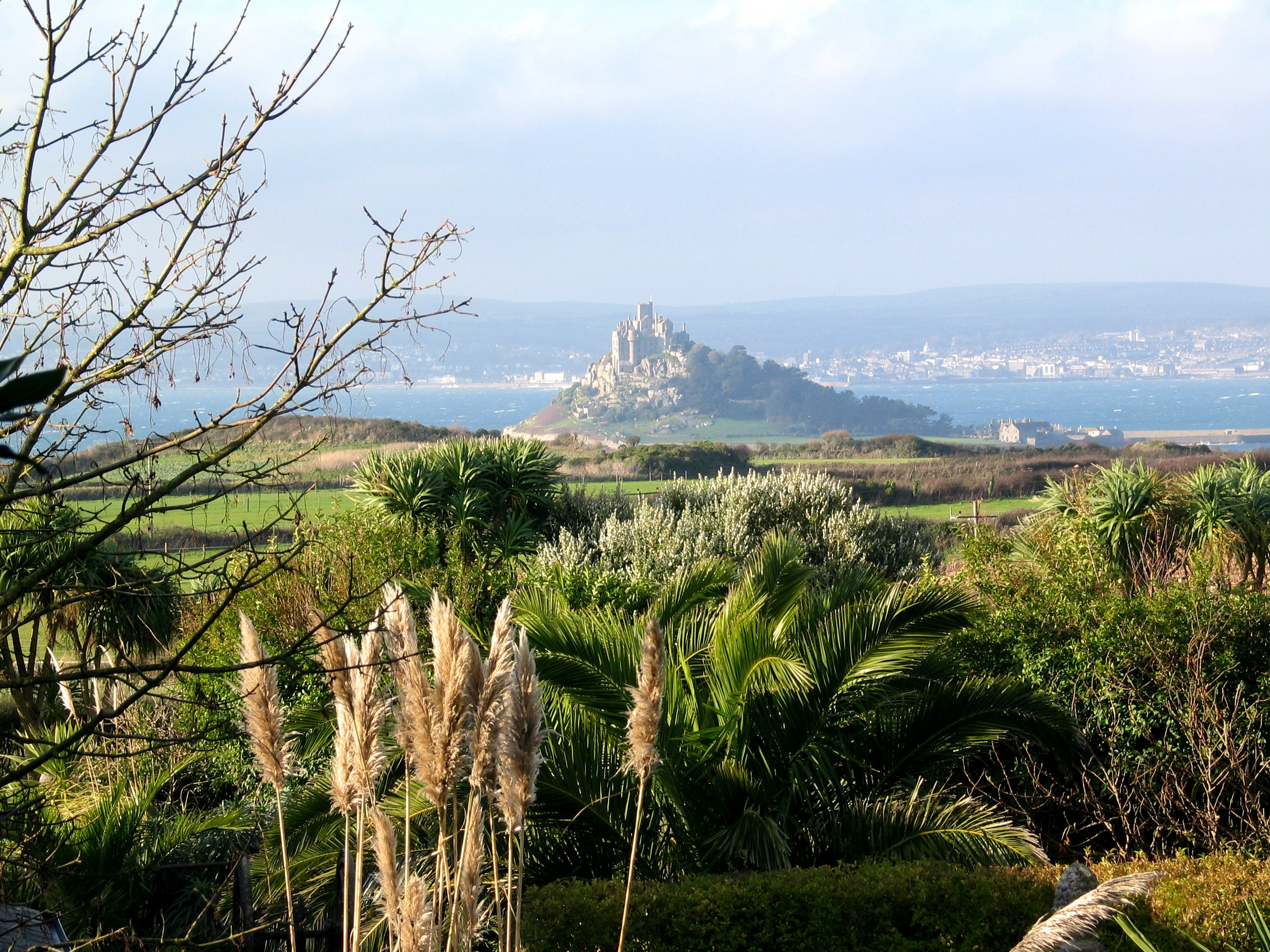 A view over the garden from the car park and out across Mounts bay where St Michael's Mount makes a magical backdrop to our days