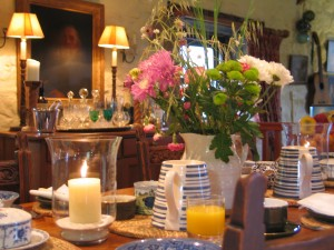 Table set for Breakfast at Ednovean farm luxury Bed and Breakfast