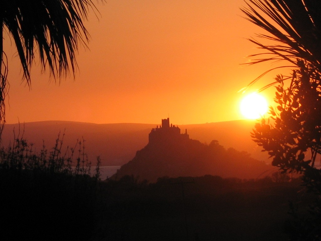 St Michael's Mount from Ednovean Farm luxury Bed and Breakfast garden at Sunset