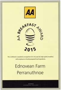 Ednovean Farm fine Breakfast award