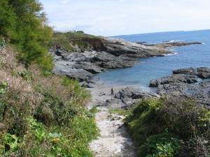 Steps down to explore Prussia Cove - unspoilt cornish cove
