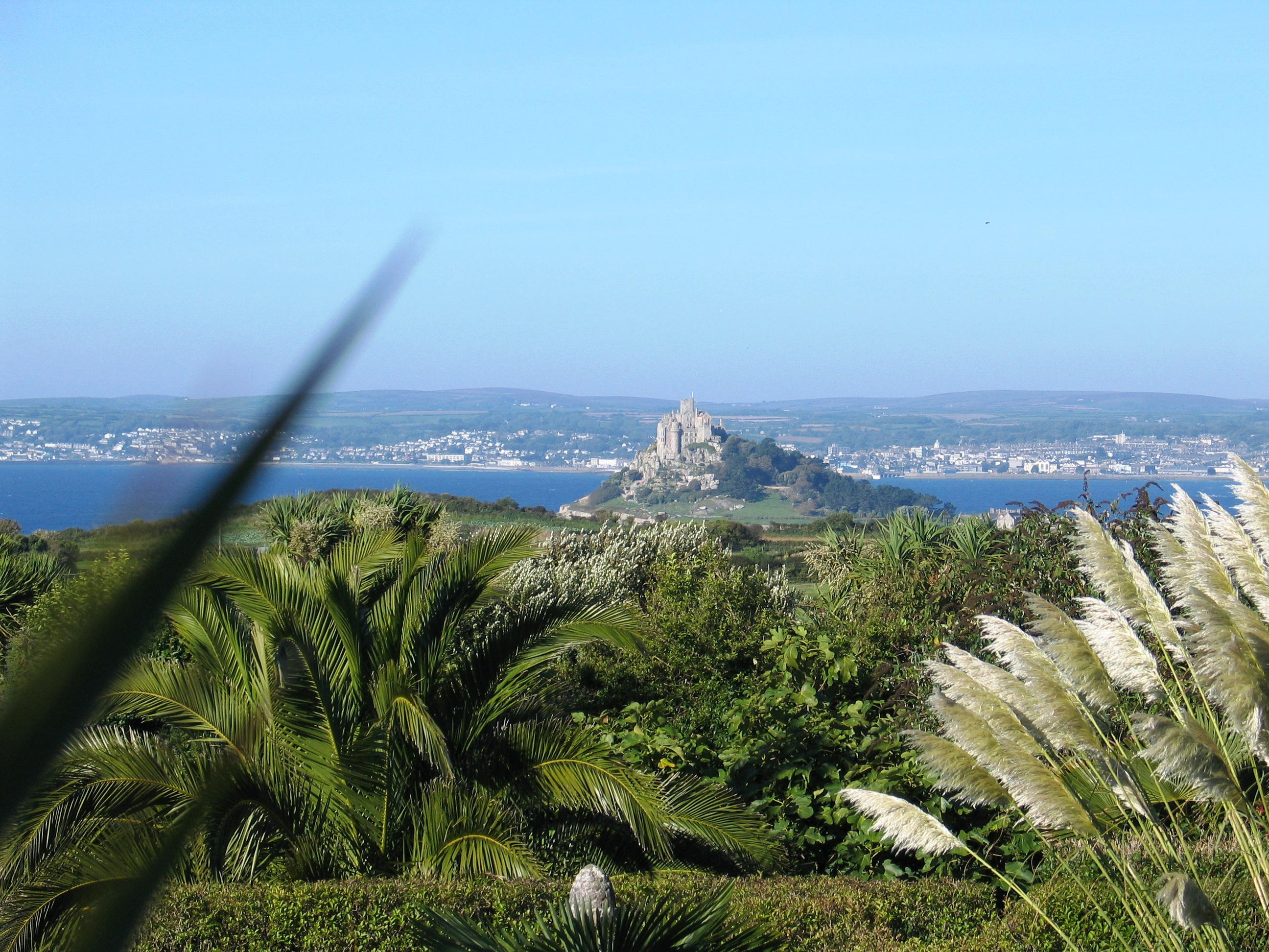 View over Ednovean Farm garden to Penzance