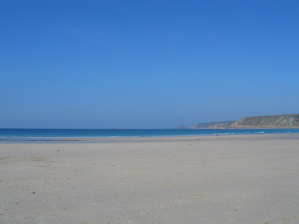 Blue sky and seas in October at Sennen Cove