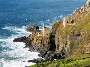 Botallack Engine Houses - two semi derelict engine houses clinging to the cliffs above the sea