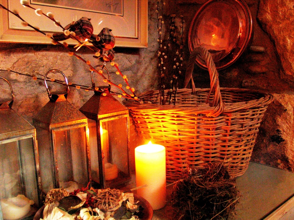 we lit the first candle for Christmas surrounded by lanterns, baskets