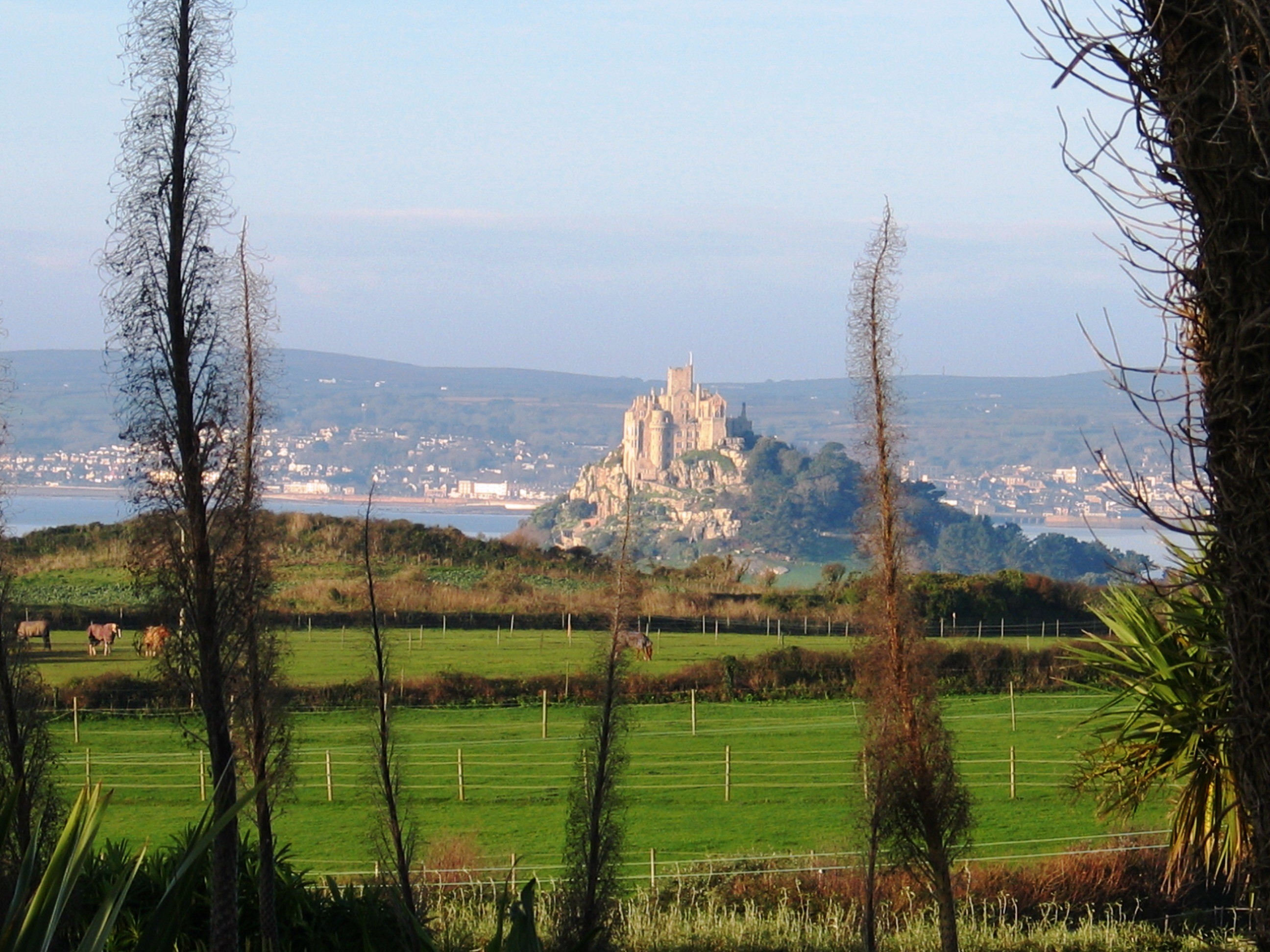Penzance across Mounts bay from Ednovean Farm