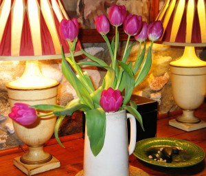 Bright pink tulips vintage Dining room