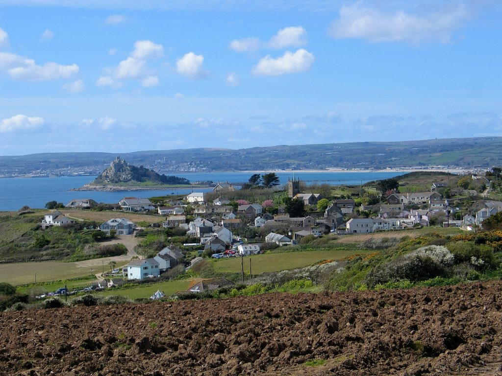 View down over Perranuthnoe and Mounts bay from Trebarvah