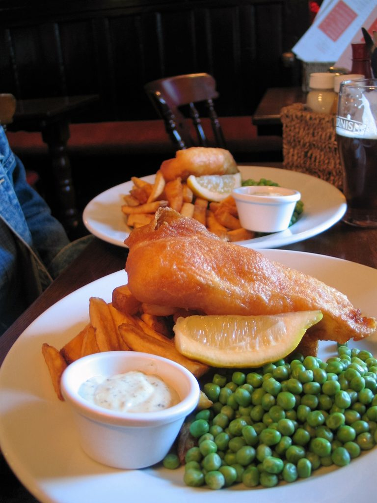 Fish and chips in a cornish pub