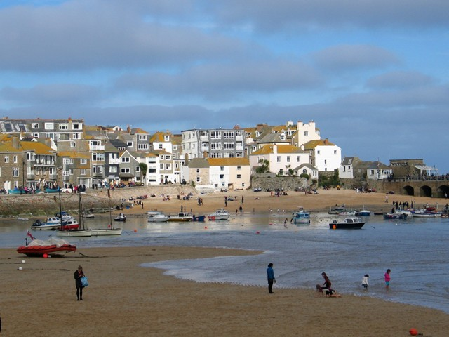 Cluster of houses above sandy harbour - St Ives