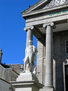 A statue of Humphrey Davy presides over Market Jew street in Penzance