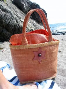 My perfec faded terracotta beach bag at Kennack Sands
