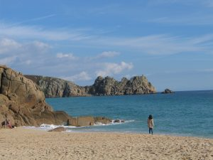 Porthcurno Beach sheltered by teh Logan's Rock headland must be on of the most beautiful in Cornwall