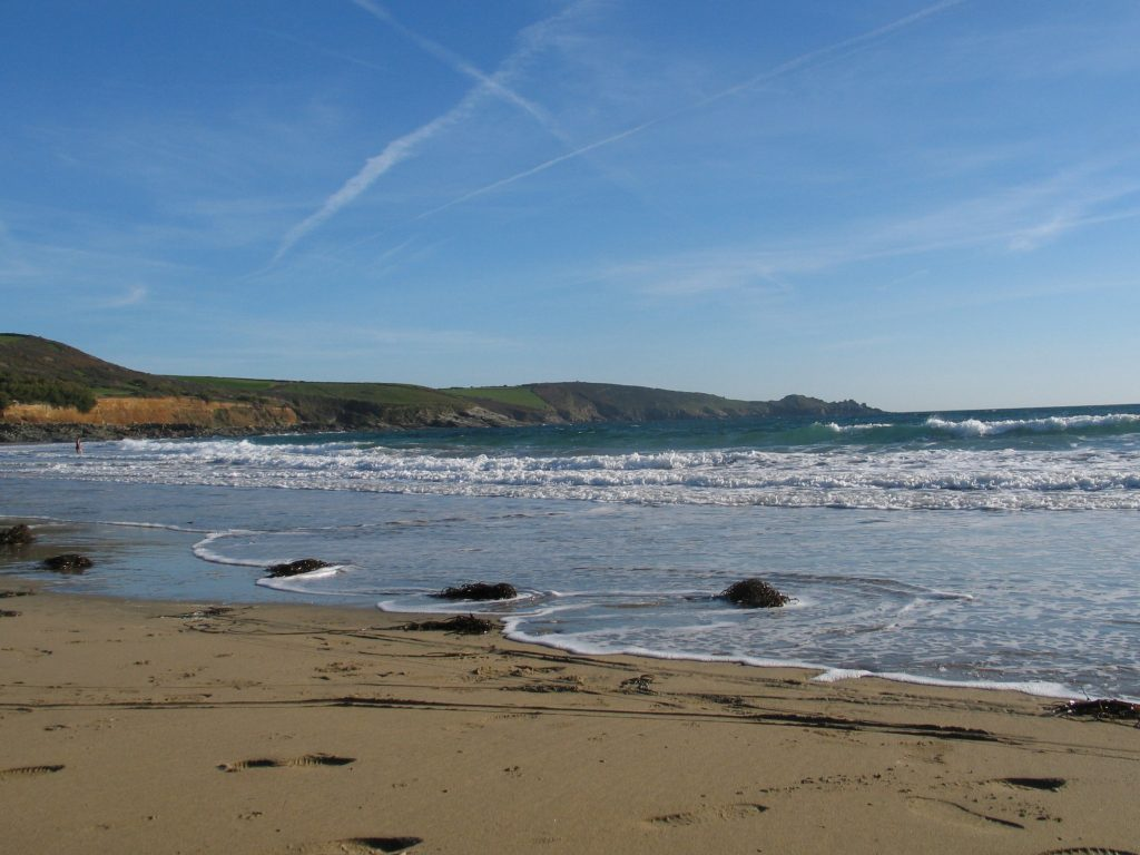 The broad sandy beach at Perranuthnoe at low tide