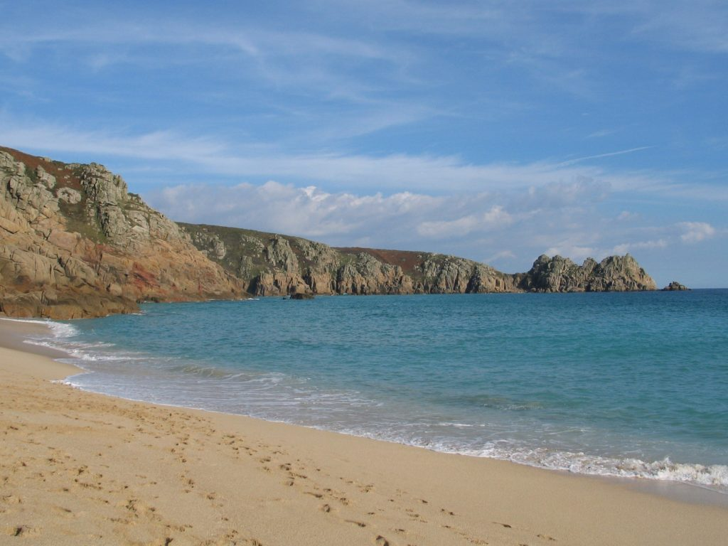 Idyllic Porthcurno beach on a gentle day