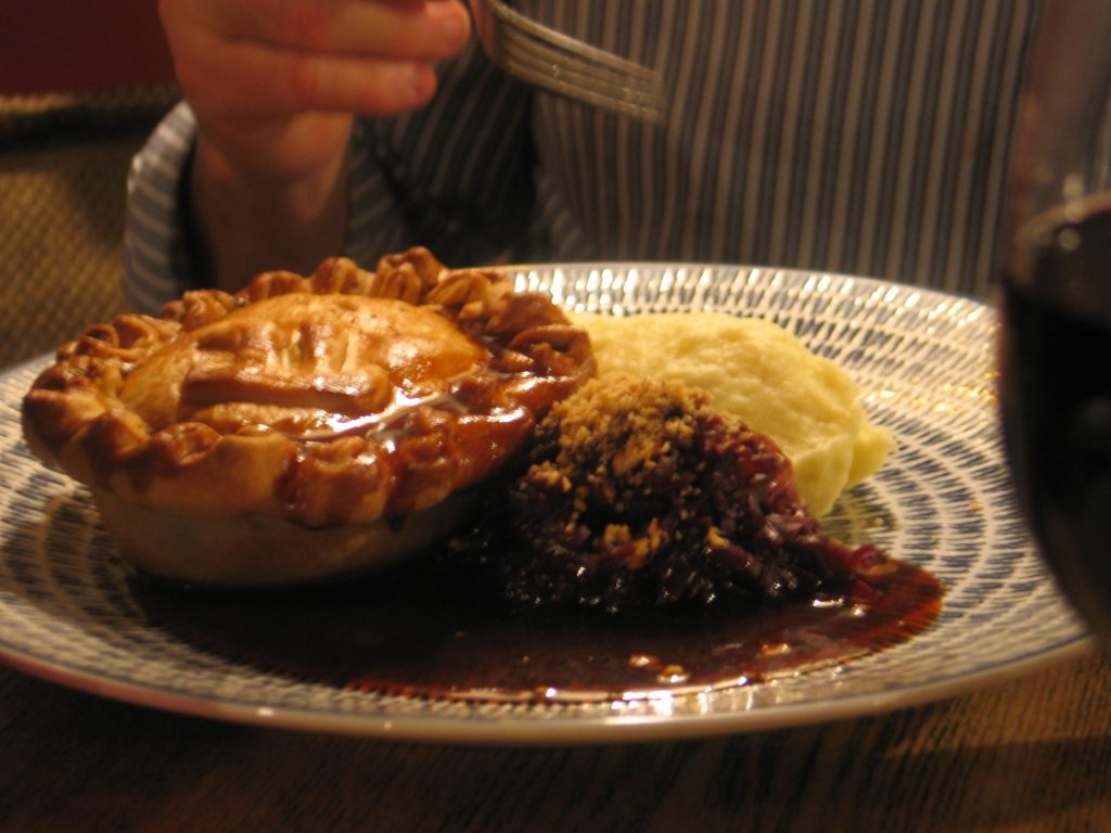 Beef in Ale Pie with mashed potato and pint of Beer