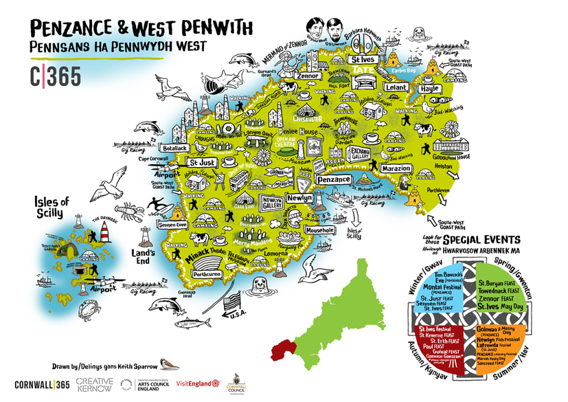 map with illustrations of west penwith