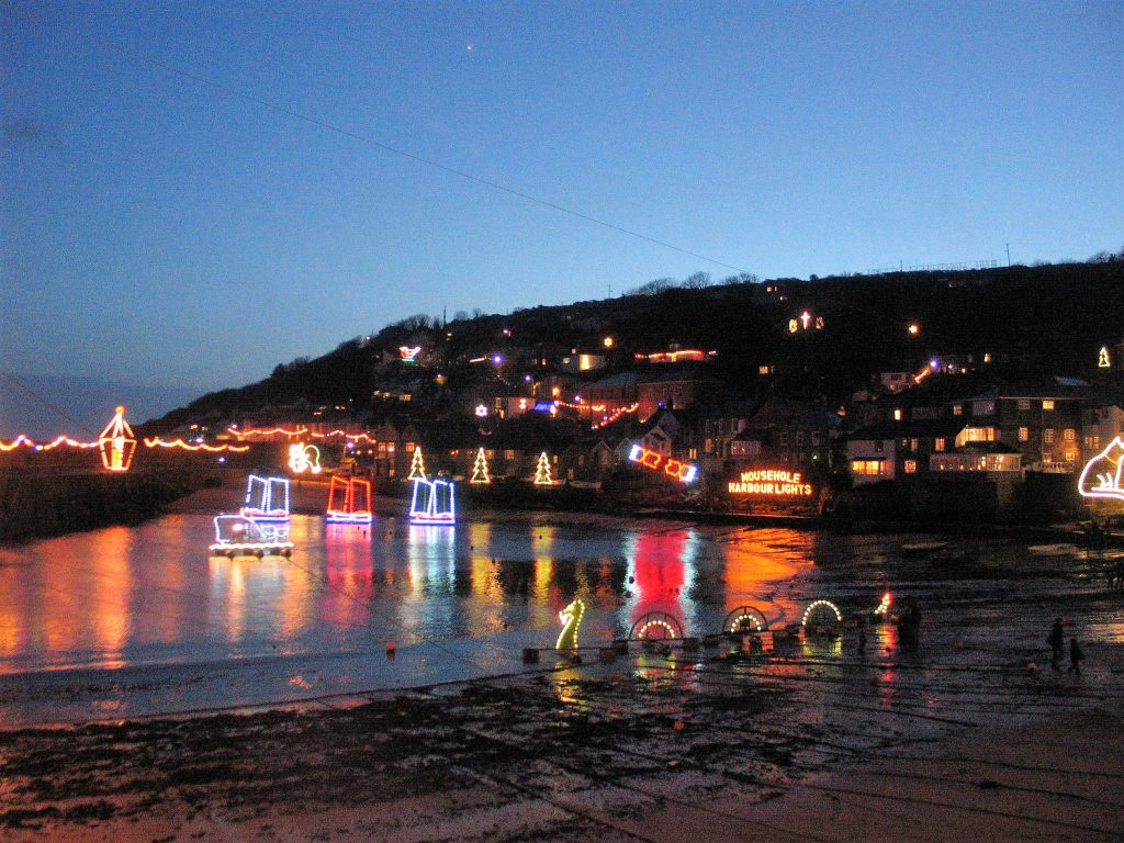 Christmas lights in Mousehole harbour