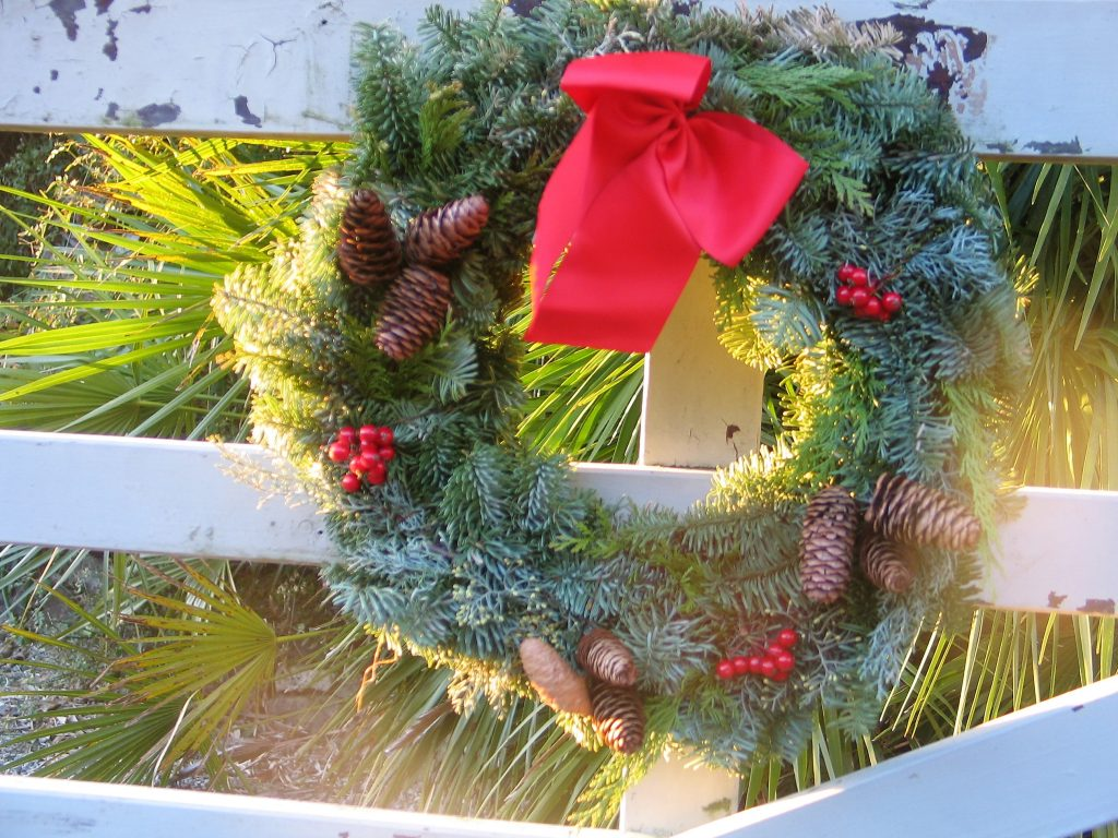 Christmas wreath decorating the entrance gate