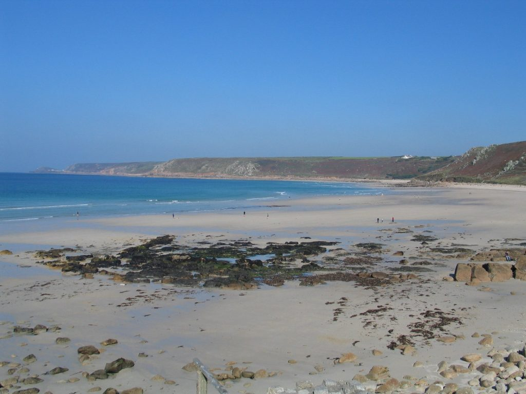 Pale sands stretching across Cornish beahces