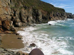 High tide on an isolated beach