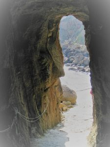a tunnel cut by miners to porthgwarra cove