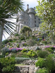 st michael's mount garden seen from below