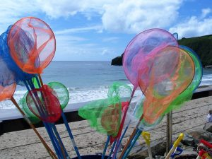 Traditional seaside fishing nets - Praa sands