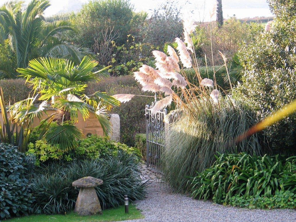 The soft autumn light on a welcoming garden entrance