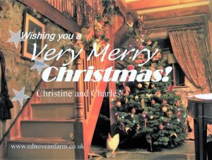 Christmas card wishing a very merry christmas set in Ednovean Farm