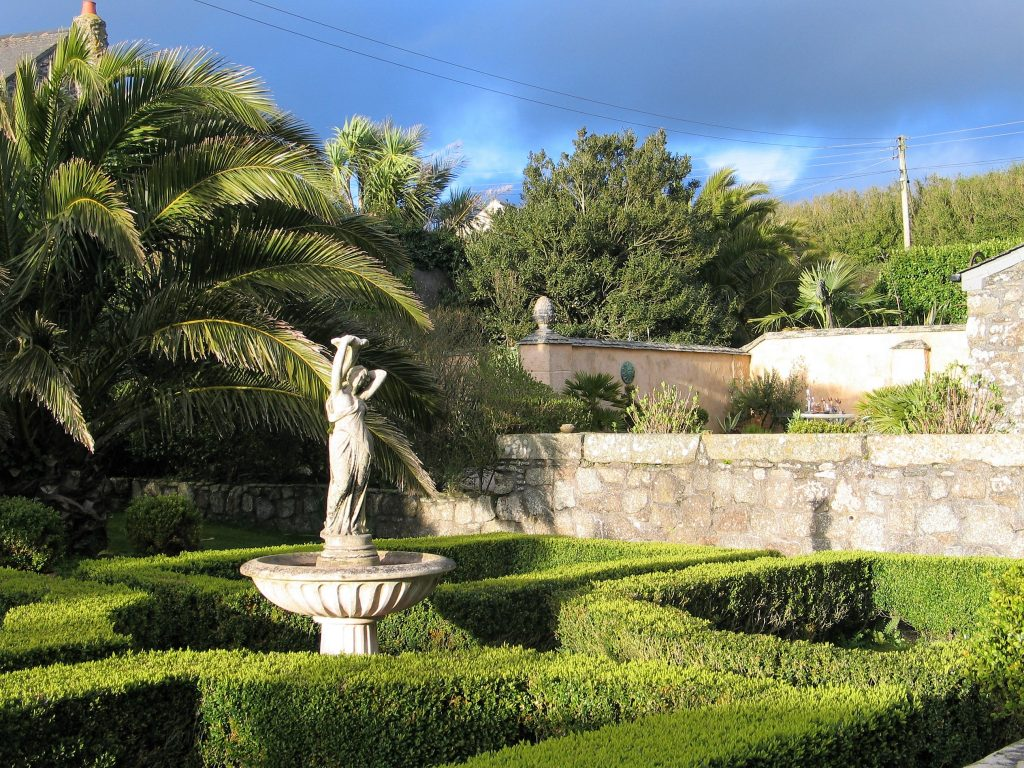 Seasons in a garden - March formal parterre and fountain