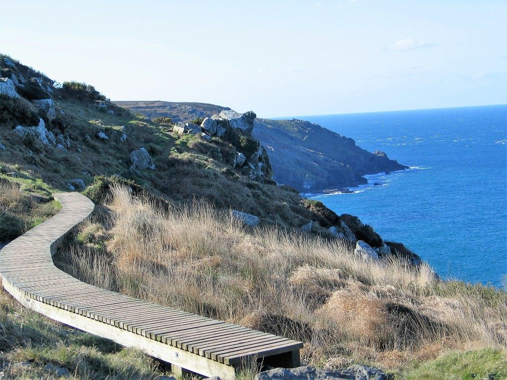 A sculptural boardwalk on the coastal footpath