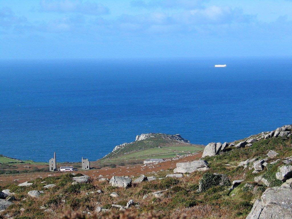 Extensive View to the Land's End to St Ives coast road from a winter walk to a high cairn