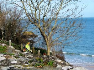 workmen preparing footpaths for summer above Porthminster beachfront