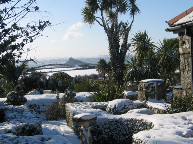 Cornwall's snow - view to st Michael's Mount over formal garden - February's garden diary