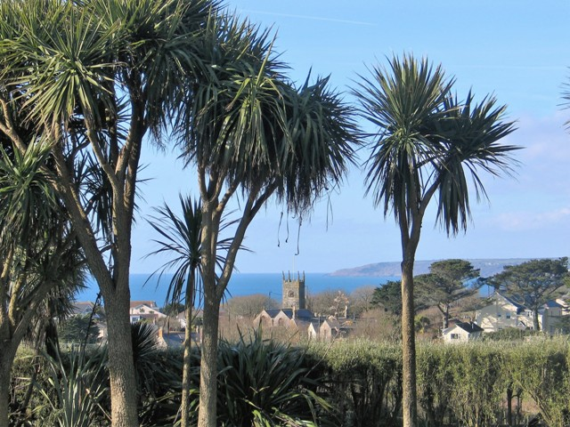 spring equinox brings blue sea nd skies back to cornwall - garden view from Ednovean Farm