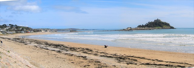 Spring view over Mounts Bay from Marazion beach to the Lizard