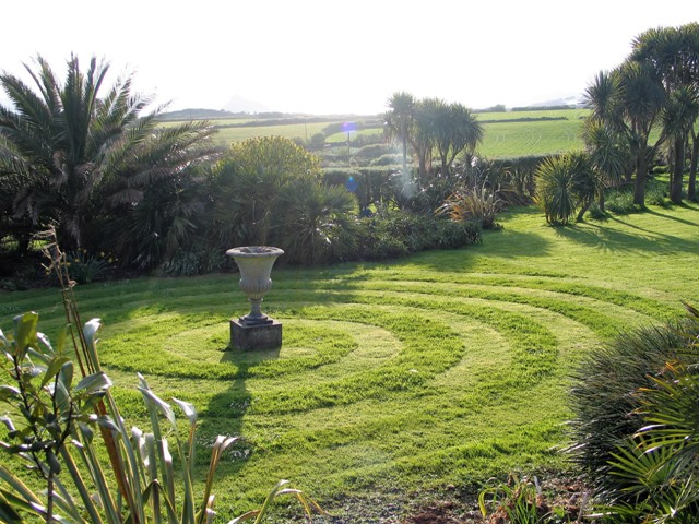 A spiral cut into the lawn at Ednovean Farm
