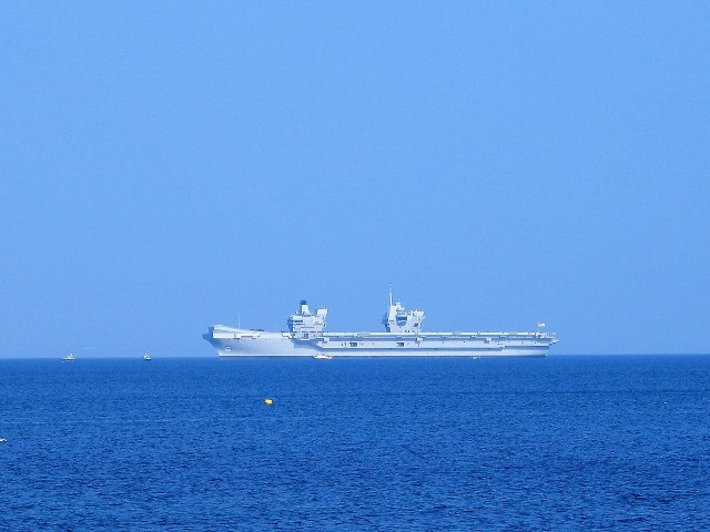queen elizabeth aircraft carrier off of Newlyn