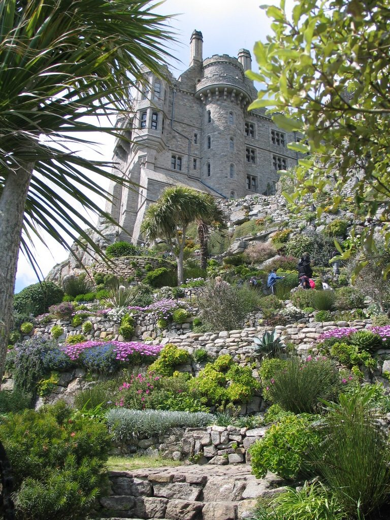 terrace rock garden leading to castle - St Michael's Mount Garden