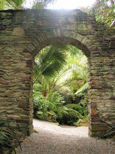 Stone Archway reveals palms