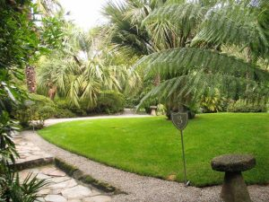 numbered way marks beside palm fringed lawn